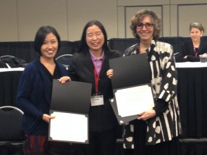 2013 Francis L.K. Hsu book prize recipients Junko Kitanaka (left) and Judith Farquhar (right) with Vanessa Fong (middle)
