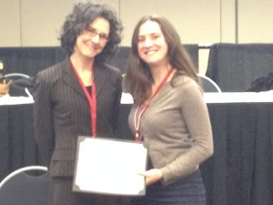 2013 Theodore C. Bestor Prize for Outstanding Graduate Paper recipient Lesley R. Turnbull (right) with Amy Borovoy (left)