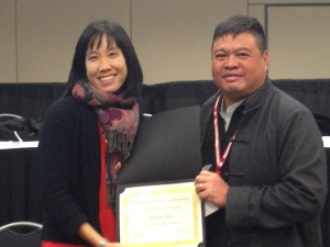Plath Media Prize recipient  Jenny Chio (left) with Fuji Lozada (right)