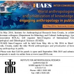 CfP due September 30 for IUAES held in May 2016