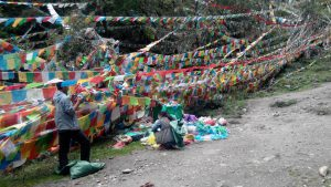 Plastic wastes piled up in the sacred mountain paths alongside lung ta—prayer flags hanging at various locations where deities travel, photo by author, 2015.